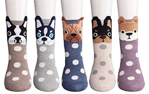 CozyWow Womens/Girls Fun Crazy Animation Print Crew Socks (4/5/6 (Teen Socks)