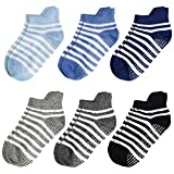 Aminson Grip Ankle Socks - Kids Boys Girls Anti Non SkidSlip Slipper Crew Socks-6 Pairs