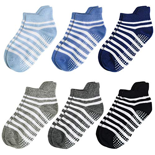 Aminson Grip Ankle Socks - Kids Boys Girls Anti Non Skid Slip Slipper Crew Socks-6/12 Pairs