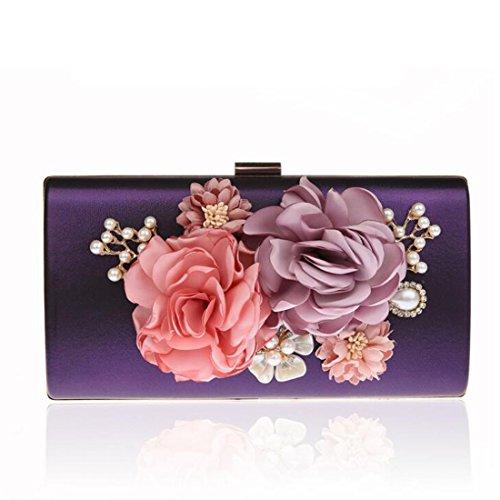EPLAZA Women Large Capacity Flora Evening Party Bags Clutch Purse Vintage Wedding Handbags Wallet (purple)