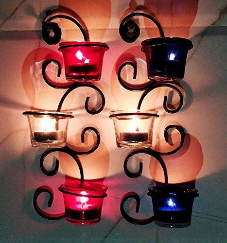 Hashcart Wall Scone Tea Light Candle Holder Set of 2 Metal Candle Light Holder Set/Designer Votive Candle Holder Stand/Table Decorative Candle Holders, Votive Tea Light for Home Living Room & Office