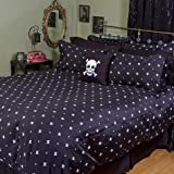 King Skull and Crossbones Duvet Cover in Black and White Cotton, by Sin in Linen