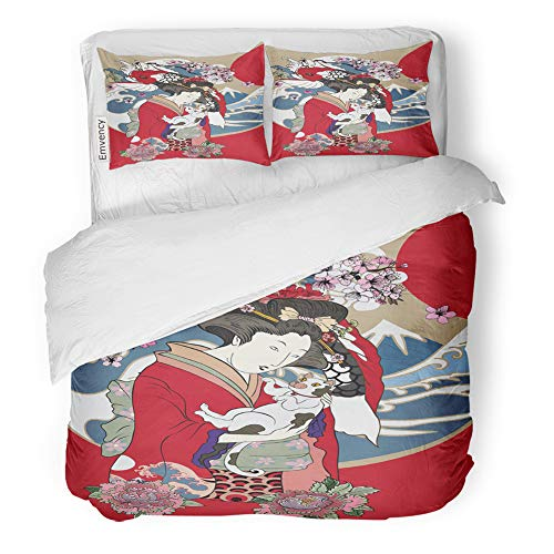 Emvency Decor Duvet Cover Set Full/Queen Size Traditional Japanese Wave Women in Kimono with Her Cat and Koi Carp Geisha Girl 3 Piece Brushed Microfiber Fabric Print Bedding Set Cover