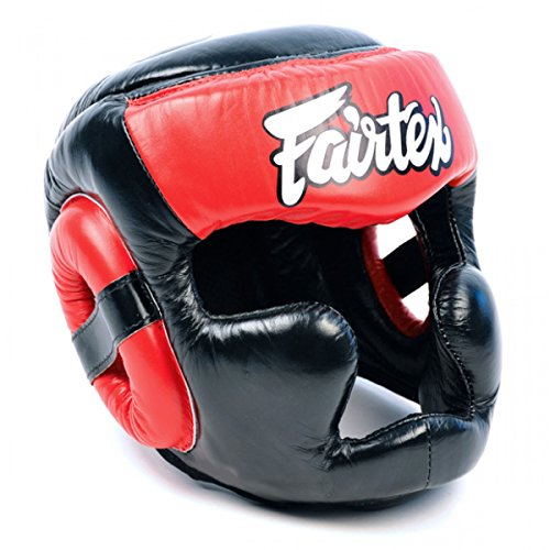 Fairtex HG13 Diagonal View Lace-Up Version Head Guard Headguard HeadGear Helmet Boxing Head Guard Thai Boxing K-1 MMA Head Gear Guard Protective Muay Thai (Black-Red, Medium)