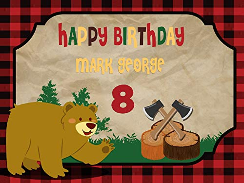 Custom Home Décor Lumberjack Birthday Banner, Personalized Bear Party, Lumberjack First Birthday, Woodland Birthday Banner Wall Décor, Handmade Party Supply Poster Print Size 24x36, 48x24, 48x36]()