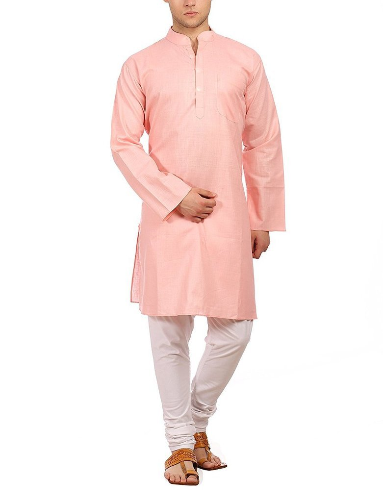 Royal Men's Fine Cotton Pink Kurta Churidar