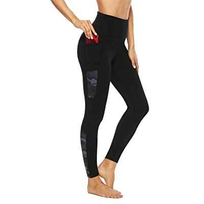 Persit Printed Yoga Pants with Pockets High Waisted Non-See-Through 4 Way Stretch Tummy Control Leggings at Women's Clothing store