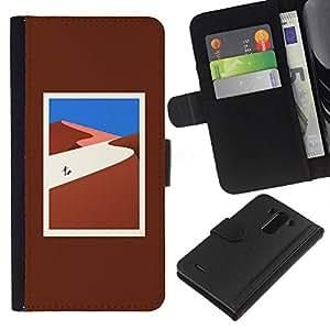 KLONGSHOP // Tirón de la caja Cartera de cuero con ranuras para tarjetas - lejos - LG G3 //