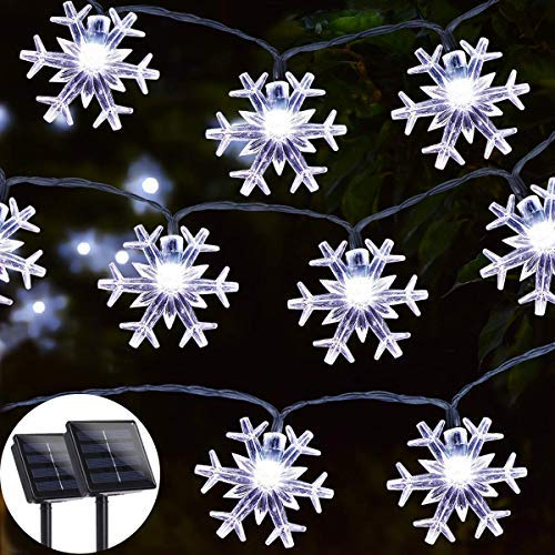 Solar String Light 2 Packs, 20ft 30LED Outdoor String Lights, Waterproof Decorative Snowflake String Lights Patio, Garden, Gate, Yard, Party, Wedding, Christmas- White
