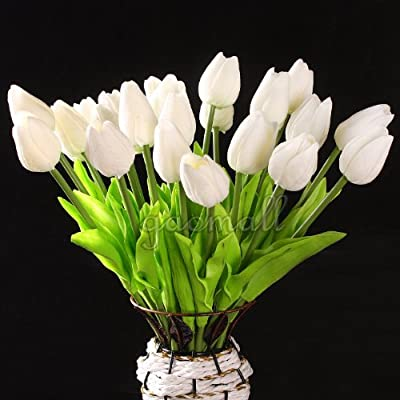 White Tulip Flower Latex Real Touch For Wedding Bouquet KC456