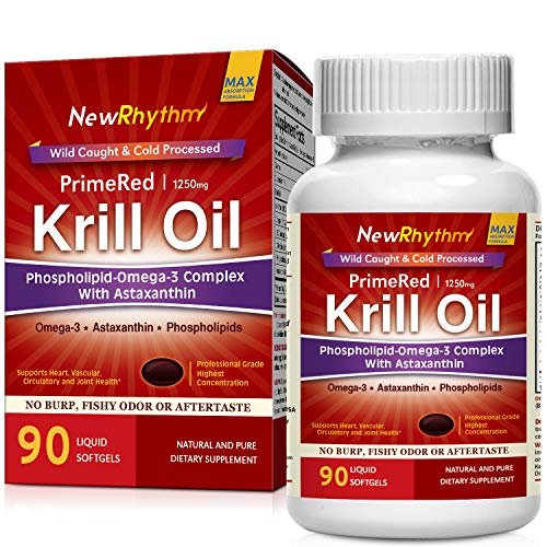 NewRhythm Krill Oil, 1250mg High Potency, Pharma Grade 90 Softgels (Best Krill Oil 1000mg)