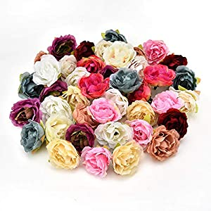 Fake flower heads in bulk wholesale for Crafts Cherry Blossoms Peony Silk Artificial Flower Wedding Party Home Room Decoration Marriage Shoe Hats Accessories Handmade Craft 30pcs 4cm 5