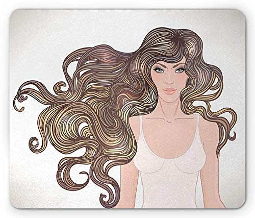 (Bestsock Gaming Mouse Mat/Pad, Curly Hair Mouse Pad, Modern Young Woman with Exquisite Healthy Hairstyle Feminine Cosmetic Lady Image, Standard Size Rectangle Non-Slip Rubber Mousepad, Multicolor)