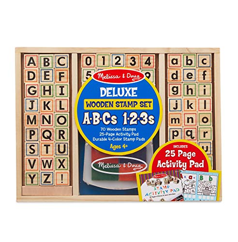 Alphabet Cards Set - Melissa & Doug Deluxe Letters and Numbers Wooden Stamp Set ABCs 123s with Activity Book, 4-Color Stamp Pad