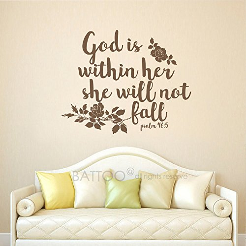 Amazon.com: BATTOO Psalm 46:5 Bible Verse, God is Within her ...