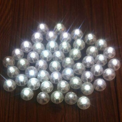 Indoor String Lights, Disco Ball Light, Light Up Balloons, Small Led Lights,50Pcs/lot Round Ball Led Balloon Lights Mini Flash Lamps for Lantern Christmas Wedding Party Decoration- White]()