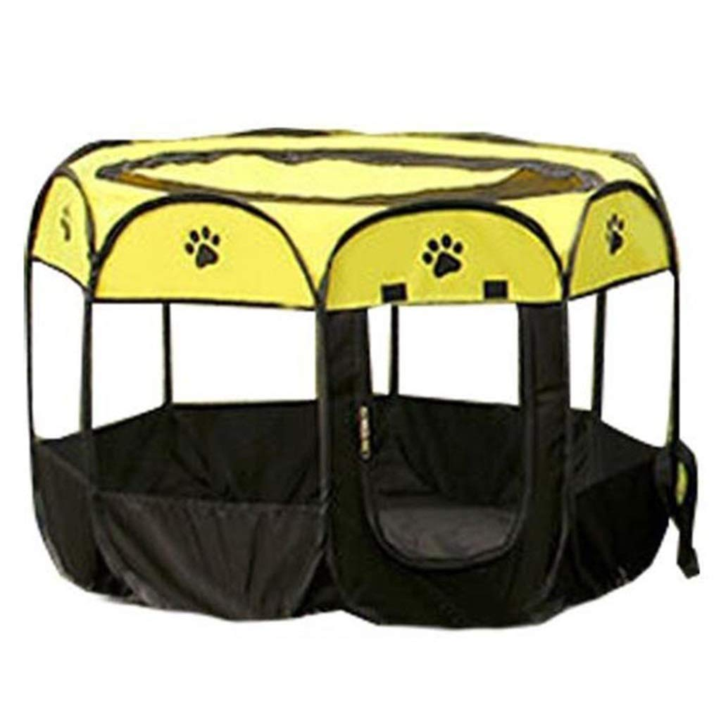 Yellow A Yellow A GUOF Kennel fence- Folding pet tent nest fence folding cat cage dog cage small dog cagePuppy heavy puppy play pen (color   Yellow, Size   A)