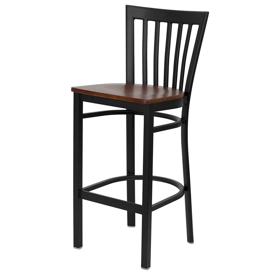 Modern Style Dining Bar Stools Pub Lounge Diner Restaurant Commercial Seats Vertical School House Back Design Black Powder Coated Frame Finish Home Office Furniture - (1) Cherry Wood Seat #2232