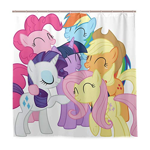 (AXTAWOOD My Pony Cartoon Animation Shower Curtain Waterproof Polyester Fabric Bathroom Shower Curtain Fabric Shower Curtain 12 Hooks 72 x72 inches )