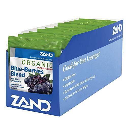 Zand HerbaLozenge Organic Blue-Berries Blend | Throat Lozenges w/VIT. C & Zinc for Immune Support | No Corn Syrup or Cane Sugar | 12 Bags, 18ct.