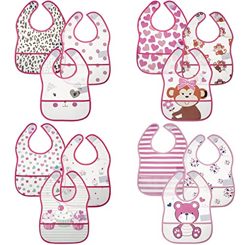 Little Me 12 Pack Crumb Catcher Bibs for Baby Boys & Girls; 0-12 Months by Little Me