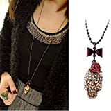 1x Rose Bow Skull Necklace Long Sweater Chain Metal Jewelry Pendant For Gift Fad