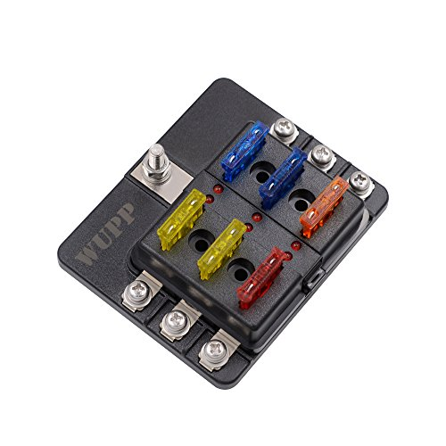 Fuse Terminal Block (Blade Fuse Box Holder with LED Light Damp-Proof Block for Car Boat Marine RV DC 32V (Screw Terminal,6-Way))