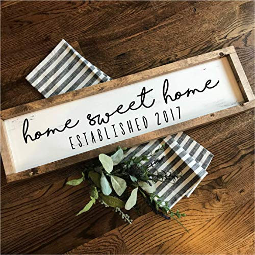 Home Sweet Home with Established Year | Hand-painted Over-sized Wooden Sign | Modern Farmhouse Style | Fixer Upper inspired home decor (Home Signs Established)