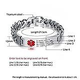 8.5 Inches Free Engrave Emergency Medical Bracelets for Men Women Alert ID Bracelets for Adults Titanium Steel Medical Alert Bracelets for Women 7.5 Inches