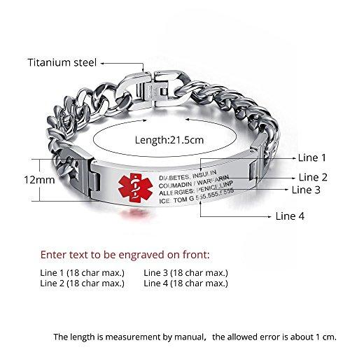 Lam Hub Fong 8.5 Inches Free Engrave Emergency Medical Bracelets for Men Women Alert ID Bracelets For Adults Titanium Steel Medical Alert Bracelets For Men by Lam Hub Fong (Image #2)