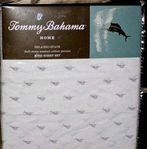 TOMMY BAHAMA 4 Piece STONE WASHED COTTON QUEEN Sheet Set - GRAY MARLIN PATTERN