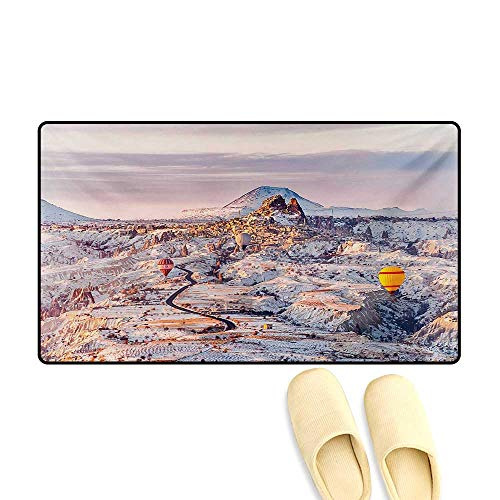 Bath Mat,Cappadocia Turkey Landscape with Hot Air Balloons Anatolia Valley Geology Tourism,Doormat Outside,Multicolor,20