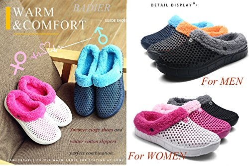 Black Womens Garden Outdoor Shoes Mens Slippers BADIER Indoor Cotton Winter Warm Clogs qPMUaB