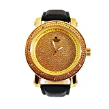Mens Genuine Diamond Gold Finish Round Big Face Leather Band Watch