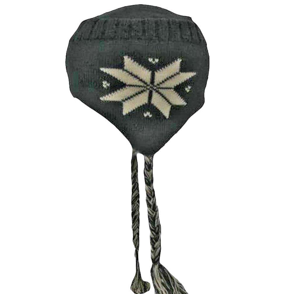 a86c7e34 Luxury Divas Black Knit Snowflake Tibetan Winter Hat Tassels: Amazon.ca:  Clothing & Accessories