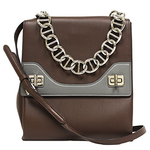 Prada Leather Vitello Soft Cacao Brown Leather Chain Shoulder Bag - Bags Prada Outlet