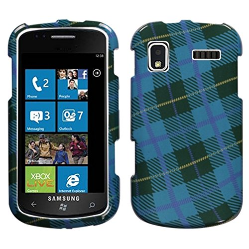 Mybat Protector Cover for Samsung i917 - Retail Packaging - Blue Plaid Weave