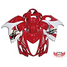 VITCIK (Fairing Kits Fit for Suzuki GSXR1300 GSX-R 1300 GSXR 1300 Hayabusa 2008 - 2015) Plastic ABS Injection Mold Complete Motorcycle Body Aftermarket Bodywork Frame (Red & White) A003