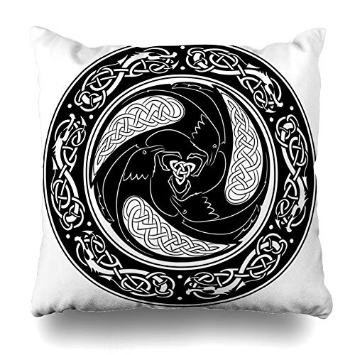 "Ahawoso Throw Pillow Cover Ancient Viking Shield Decorated Scandinavian Pattern Raven Ravens Vintage Bird Black Gold Celtic German Pillowcase Standard 20""x26"" Home Decor Cushion Case"