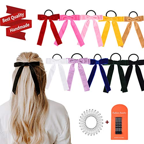 10Pcs Bow Hair Tie Velvet Elastics Hair Scrunchie Bobbles Hair Bands Scrunchy Hair Rope Long Hair Bow Ponytail Holder Accessories for Women Girls