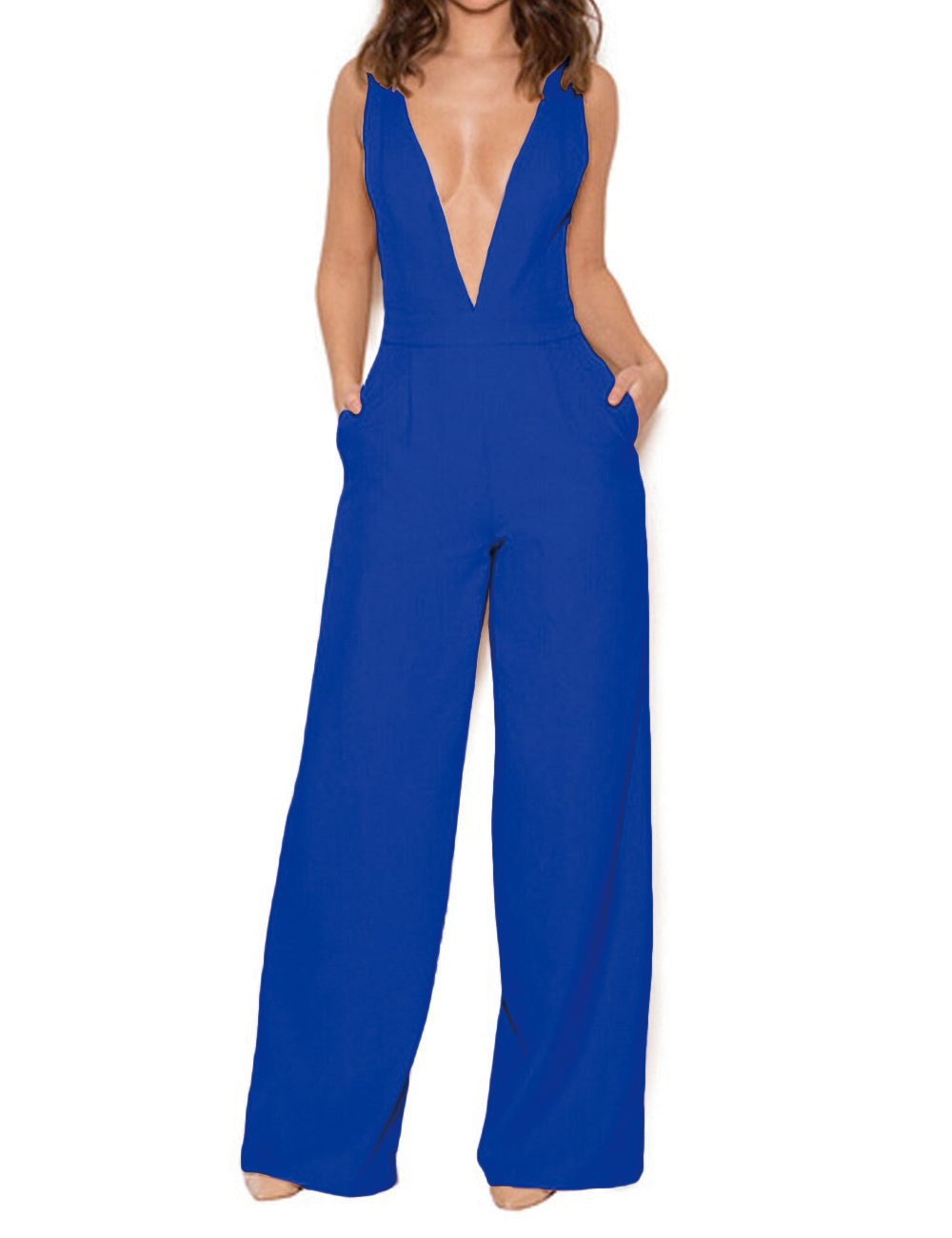 UONBOX Women's Sleeveless Elegant Deep V and Wide Leg Ladder Back Jumpsuit (L, Royal Blue)