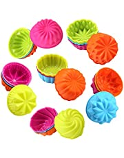 To encounter Silicone Cupcake Baking Cups, Food Grate Non-Stick Silicone Muffin Liners, Reusable 3 Inch Silicone Molds, 6 Shapes Pack of 24