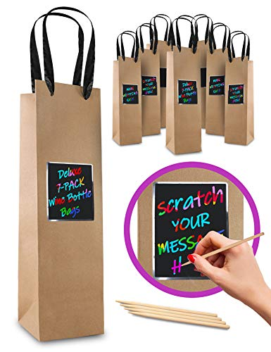 Purple Ladybug Novelty 7 Wine Gift Bags with Scratch Paper Panel for Customization - Premium Brown Kraft Paper Wine Bags Bulk That You Can Personalize! Great for Birthday, Easter, Wedding, and More!