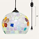 Kiven Plug-In Tiffany Pendant Lights Kitchen Glass suspension chandelier With15ft UL Certification Black Cord With On Off Dimmer Switch Bulb Included TB0248