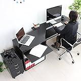 パソコン デスク 鏡面 120cm 幅 60cm 幅 ラック スライドテーブル チェスト ブラック 日本製 JS18N-BK