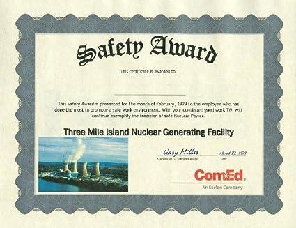 amazon com three mile island safety award personalized certificate