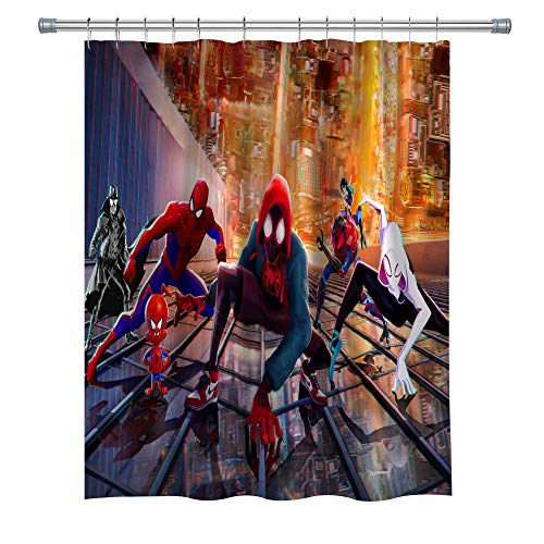 (BT world Movie Shower Curtain Spider-Man: Into The Spider-Verse, Fabric Shower Curtain for Bathroom, Marvel Poster Decor Curtain Set with Hooks, 71×71 Inches, Blue Red Yellow)