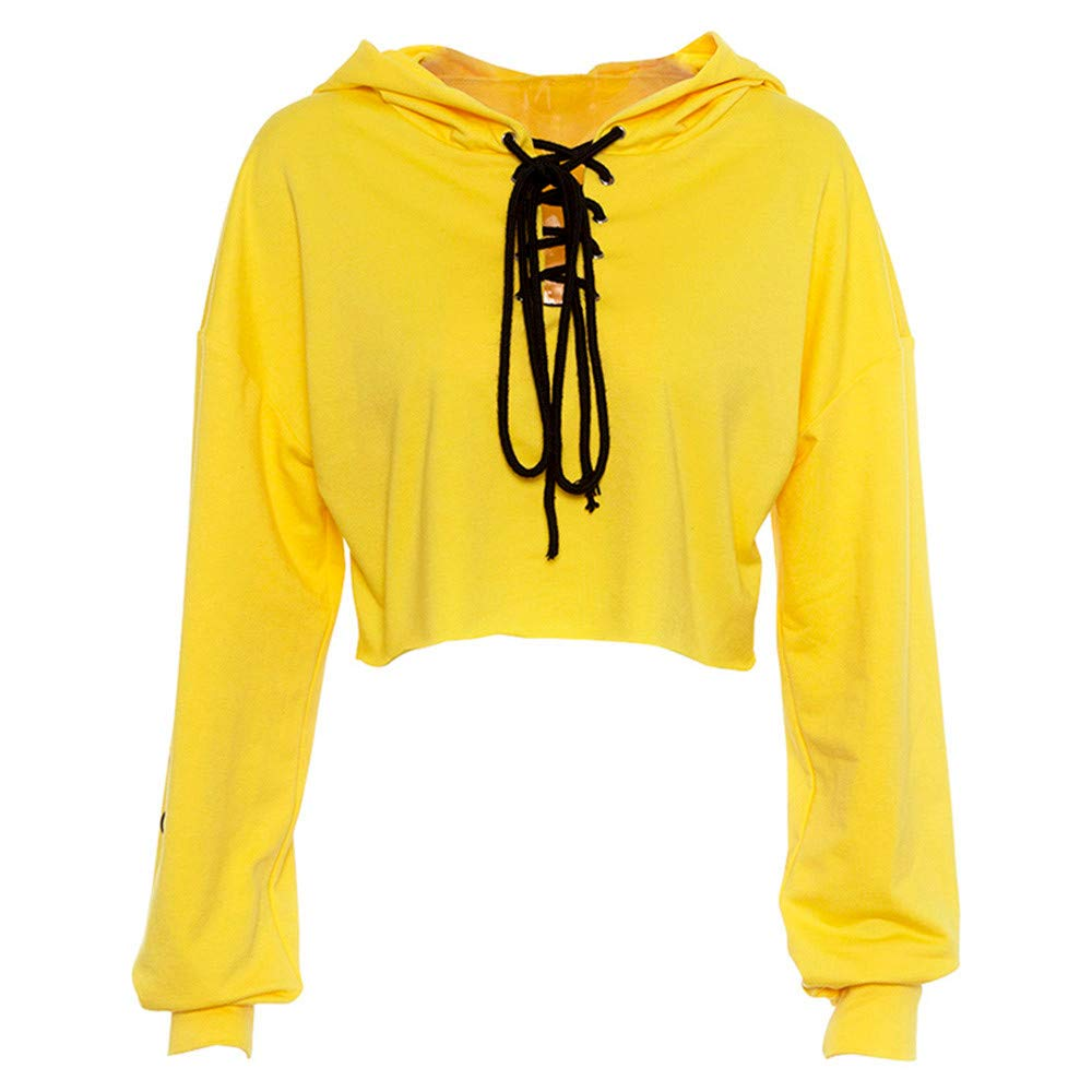 YANG-YI Clearance Women Autumn Long Sleeve Bandage Hooded Sweatshirt Blouse Tops T Shirt