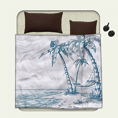 smallbeefly Holiday travel blanket Modern Illustration of a Tropical Beach with Palm Trees and Hammock Hawaiian RelaxFlannel blanket Blue - Beach Sectional Palm