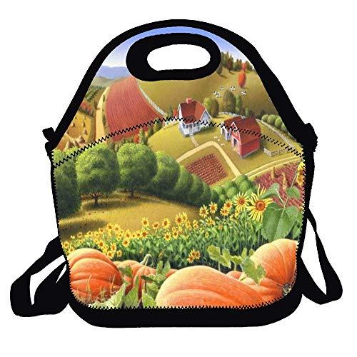 Feddiy Fall Pumpkin Patch Farm Folk Art Landscape Lunch Bag Picnic Lunch Tote For Work, Picnic, -